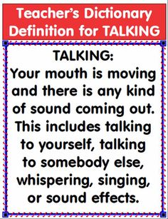 teacher's dictionary definition for talking...this is a great article, more for middle school but definitely adaptable for fifth grade...