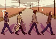 "unassumingpumpkin: "" Supernatural print for Thought Bubble. Based off the Beatles Abbey Road album cover. It's Abbey Crossroad! Geddit! Ahahaha…god, I'm so tired. """
