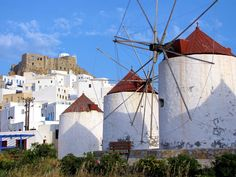 Windmills in Chora below the Venetian-Castle on Astipalea-island, Greece