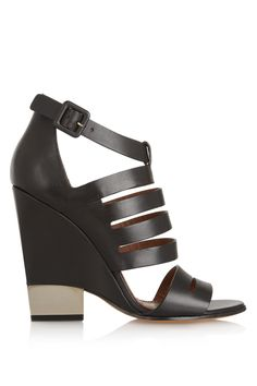 Givenchy|Cutout black leather sandals with pale gold metal heel|NET-A-PORTER.COM