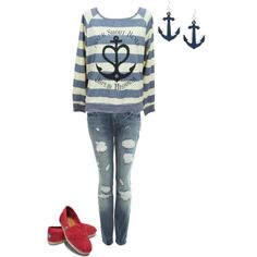 nevershoutnever, anyone? the most awesome sweatshirt paired with matching earrings, worn out jeans, and a pair of red toms, to add color.