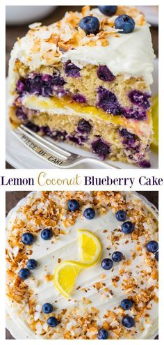Nature Cake, Lemon And Coconut Cake, Toasted Coconut, Coconut Cupcakes, Baking Recipes, Cake Recipes, Dessert Recipes, Sweet Recipes, Blueberry Cake