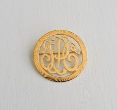 Vintage Monogram Brooch, 12K Gold Filled Engraved Monogram Style Pin, Circle Button Swirl Disc, Womens Accessories, Estate Jewelry by ninthstreetvintage on Etsy