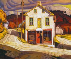 """This was a reproduction I did for a painting class. This is based on """"Old store at Salem"""" by A J Casson, from the Group of Seven. A J Casson Reproduction Tom Thomson, Emily Carr, Group Of Seven Artists, Group Of Seven Paintings, Canadian Painters, Canadian Artists, Mary Cassatt, Henri Matisse, Landscape Art"""