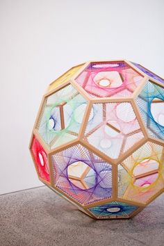 """Sliding Ladder: Truncated Icosohedron # by Nike Savvas -- On display at the Heide Museum of Modern Art, Melbourne, Australia, where an exhibition called 'Colour Bazaar' was showing early in Diy Deco Rangement, Arte Peculiar, Instalation Art, Art Sculpture, Textile Sculpture, Metal Sculptures, Abstract Sculpture, Math Art, Principles Of Design"