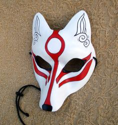 White Okami Kitsune Mask Japanese Fox Leather Mask