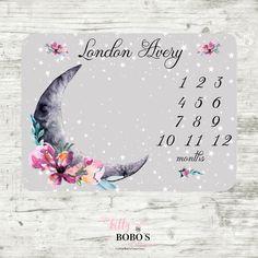 Luna Moon and Stars Baby Milestone Blanket, Celestial Baby Girl Milestone Blanket, Monthly Baby Blanket, Moon and Stars Baby Blanket Star Baby Blanket, Baby Girl Blankets, Minky Blanket, Baby Milestone Blanket, Milestone Blankets, Baby Monthly Milestones, Monthly Baby, Luna Moon, Baby Album