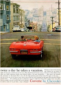 1961 Chevrolet Corvette - Twice A Day Vacation - Promotional Advertising Poster