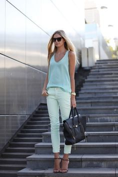 fav mint colored jeans right now