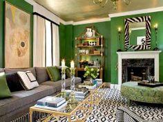 Green and grey   #LivingRoom #Interiors #InteriorDesign  