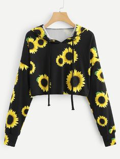 KANCOOLD stylish hoodies for women gothic casual sweatshirt Long Sleeve Sunflower Printing Hooded Blouse Tops Lila Outfits, Teenager Outfits, Mode Outfits, Cute Casual Outfits, Outfits For Teens, Summer Outfits, Girls Fashion Clothes, Teen Fashion Outfits, Kpop Clothes