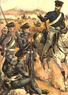 US Infantry and officer, Mexican War.
