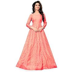 8f64c1ece82 Orangesell Women`s Banglory Satin Kali Work Semi Stitched Gown (Baby  Pink Free Size)