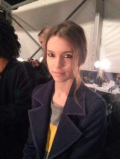 Model Eliza Hartmann backstage before Parkchoonmoo runway AW15 NYFW 2/15/15