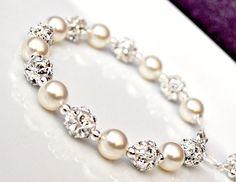 Bridal Bracelet Pearl Bridal Bracelet by somethingjeweled on Etsy