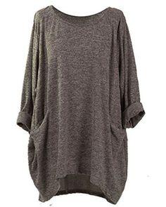 31d678dfd7a3 VONDA Damen Manschetten-Ärmel Locker Shirt Lose Oberteile Top Bluse Mit  Taschen. Stil