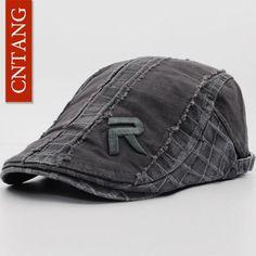 bb0a439c CNTANG Vintage Beret For Men Summer Fashion Flat Hat Casual Visor Caps  Brand Designer Retro Men Cotton Cap Button Adjustable
