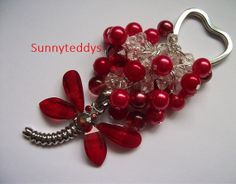 Dragonfly red beaded heart key charm NEW by sunnyteddy on Etsy, £6.00