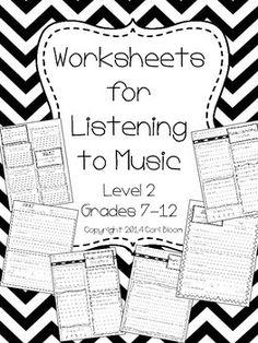 Music listening sheets, level 2 (7th-12th grade)