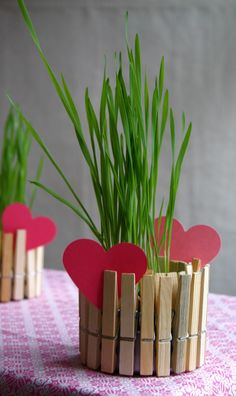 Clothespin Planter- Children love crafts that are simple, turn out well and can serve as a suitable gift for Mom – this craft is all of that. To make this you will need: a tuna fish can (I used a 5 ounce size), clothespins, construction paper and a small plant or flower arrangement… Valentine's or any spring holiday using a different shape