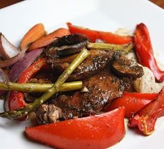 Balsamic Chicken with Roasted Vegetables (great for all phases) Ingredients 10 (20 oz) boneless skinless chicken thighs 20 medium asparagus, ends trimmed, cut in half 3 red bell peppers 1 cup carrots, sliced in half long way (Phase 4 only) 2 red onions, chopped in large chunks (Phase 4 only) 10 oz