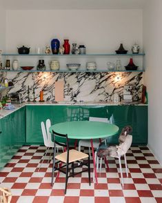 The site formerly known as Freunde von Freunden — and now just Friends of Friends — dropped in on Muller Van Severen's Ghent family compound and though this kitchen was basically all over Instagram this week, we still had to share, showing off as it does the kitchen MvS created for Reform in conjunction with what are probably original tiles.