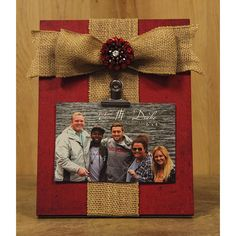 "Red Picture Clip Holder with Burlap Bow - 8"""" x 10"""""