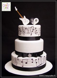 """Wedding Cake """"Musique"""" Music Birthday Cakes, Music Wedding Cakes, Music Themed Cakes, Music Cakes, Themed Wedding Cakes, White Wedding Cakes, Wedding Cake Toppers, Crazy Cakes, Guitar Cake"""