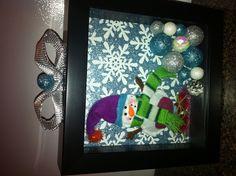 DIY Christmas decorated shadow box