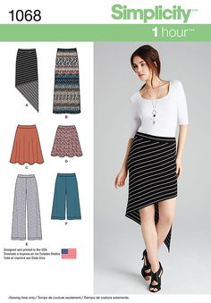S1068 Misses' Knit Skirts and Pants