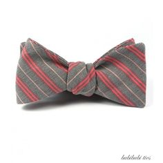 self-tie cotton bowtie, stripes in grey, salmon and cream