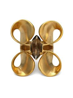 Cara Tonkin Volute Double Curl Ring in gold vermeil with smokey quartz