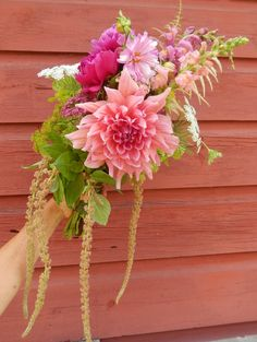 Farm-fresh big dahlia bridal bouquet!