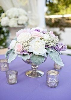 Vintage Lilac Centerpiece | Flowers by Gavita Flora | Photo by Janet Love Photography #vintage #wedding #mercury glass