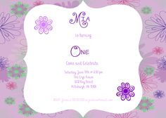 Girl First Birthday Party Invitation Shabby Chic Flowers by MiabbyDesigns on Etsy