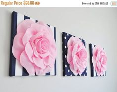 This listing is for 3 of the above pictured wall hangings: Large Light Pink Rose Flowers on Navy and White Stripe and Polka Dot Canvas 12 x12 Wall Hanging. ***Matching and Coordinating Pillows Available Please see Shop: www.bedbuggs.etsy.com*** Stunning Touch to any wall and room! More