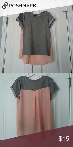 Hi-low top Market and Spruce hi-low top. Grey part is a comfy sweatshirt material while the pink is sheer chiffon. market and spruce Tops