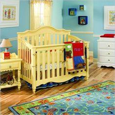 Lea Spring Garden Baby Convertible Wood Crib in Yellow via babycribstation.com