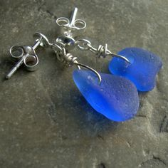 Cobalt Blue Sea Glass Earrings Repurposed Jewelry by cindylouwho2, $25.00