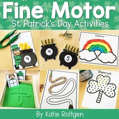 This St. Patrick's Day Fine Motor Activities resource contains low prep activities that PreK, kindergarten, & homeschool students will love! These low-prep activities are perfect for prekindergarten centers or kinder stations and cover fine motor skills such as paper tearing, cutting, line tracing, tweezing, bead stringing, hole punching, & more. Preschoolers and kinders love these hands on activities that allow them to develop their fine motor skills while having fun celebrating spring.