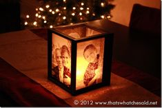 DIY Photo Luminaries DIY- Picture Frame Luminaries- great for decorating for parties, wedding centerpieces, holidays, gift ideas, etc. Holiday Crafts, Fun Crafts, Christmas Crafts, Christmas Gifts For Parents, Christmas Presents, Diy Gifts Parents, Christmas Christmas, Gift Ideas For Grandparents, Easy Homemade Christmas Gifts