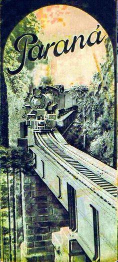 #VINTAGE Ferrovia do Paraná, pôster antigo para promover o transporte ferroviário do Brasil no exterior!