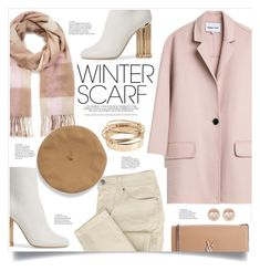 """""""Wrapper's Delight: Winter Scarf"""" by nadyabyne ❤ liked on Polyvore featuring Miss Selfridge, Salvatore Ferragamo, Yves Saint Laurent, Nordstrom Rack, Valentino, Pink, scarf, winterstyle and winterscarf"""