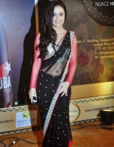 Devoleena Bhattacharjee in Black Transparent Saree Pics