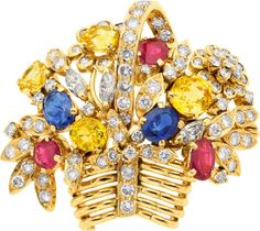 Estate Jewelry:Brooches - Pins, Sapphire, Ruby, Diamond, Gold Brooch. ...