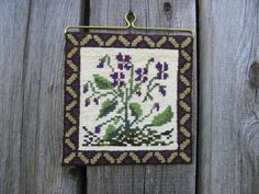 Small Vintage Wall Hanging Embroidery Embroidered by OLaLaVintage