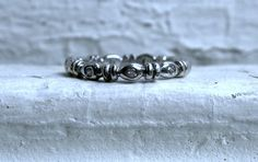 Vintage 14K White Gold Diamond Eternity Wedding Band.  Esty GoldAdore
