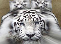 $ 105.69 New Arrival 100% Cotton Lifelike White Tiger 3D Printed 4 Piece Bedding Sets/Duvet Cover Sets
