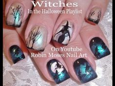 Nail Art | Witch Halloween Nails | Witches Nail Design Tutorial - YouTube