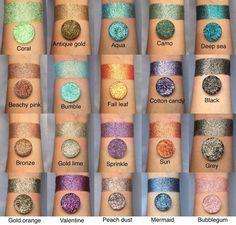 Pressed glitter eyeshadow bundle choose any 6 shades Pressed Glitter Eyeshadow Palette, Loose Glitter Eyeshadow, Liquid Eyeshadow, Eyeshadow Makeup, Henna Designs, Unicorn Dust, Gold Skies, Fin Fun Mermaid, Make Up